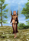 Magic Fairy. 3D digital render of a beautiful Fairy in a fairytale forest stock illustration