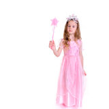 Magic Fairy. Young girl as magic fairy on white background Royalty Free Stock Photo