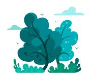 Magic and fairy forest in cartoon style. Vector tree isolate on white background. Forest or outdoor park. Magic and fairy forest in cartoon style. Vector tree royalty free illustration