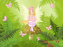 Magic Fairy In Forest Stock Photo