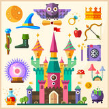 Magic and fairy tale. Magic Castle. Vector flat icon and illustrations Royalty Free Stock Photo