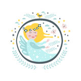 Magic Fairy  Tale Character Girly Sticker In Round Frame Royalty Free Stock Photo
