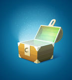 Magic fairy-tale wooden trunk empty with lights royalty free illustration