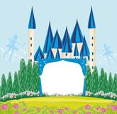 Magic FairyTale Princess Castle frame Royalty Free Stock Image