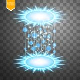 Magic fantasy portal. Futuristic teleport. Light effect. Blue candles rays of a night scene with sparks on a transparent Stock Photo