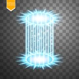 Magic fantasy portal. Futuristic teleport. Light effect. Blue candles rays of a night scene with sparks on a transparent Royalty Free Stock Photo