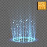Magic fantasy portal. Futuristic teleport. Light effect. Blue candles rays of a night scene with sparks on a transparent. Background. Empty light effect of the vector illustration