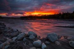 Magic fiery sunset over a beautiful lake Stock Photo