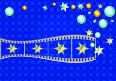 Magic film strip. Bright abstraction on 3d cinema magic. Conceptual diagram of cinema realism Stock Image