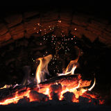 Magic fire in a fireplace Royalty Free Stock Images