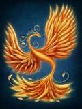 Magic firebird. On a blue background Stock Photography