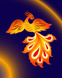 Magic firebird on a blue background. Fairy tales fantastic character, vector pattern Stock Image