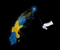 Magic flag of Sweden Stock Image