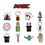 Magic flat icon set. Magic and magician tools. Flat style color vector symbols  on white Stock Images