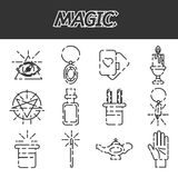 Magic flat icon set. Magic and magician tools. Flat style color vector symbols  on white Stock Image