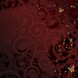 Magic floral background with golden curles. Royalty Free Stock Photography