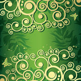 Magic floral background with golden curles Royalty Free Stock Image