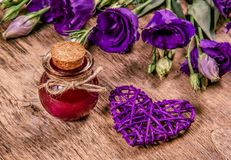 Magic Flower Elixir. Love potion. Copy space. Magic Flower Elixir. Love potion stock photo