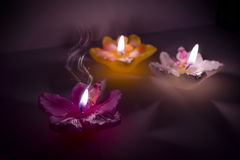 Magic flower shape candles Stock Photography
