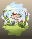 The Magic Flute. Magic scene with troll playing the flute under the big mushroom, surrounded by enchanted forest little inhabitants, vector illustration Stock Photography