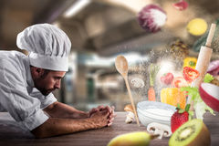 Magic food recipe at the restaurant Royalty Free Stock Images