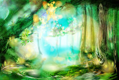 The magic forest. Excellent fantastic background. Very abstractly stock illustration