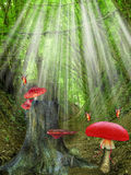 Magic Forest. With tree and mushroom Royalty Free Stock Photo