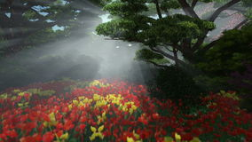 Magic forest with colorful tulips, sun shinning through trees. Pan and tilt stock video