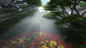 Magic forest with colorful tulips, sun shinning through trees. Tilt stock video footage