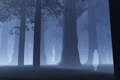 Magic Forest Ghost 3. Magic Forest with Japanese Ghost Yurei 3D artwork Royalty Free Stock Images