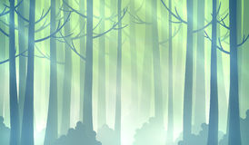 Magic forest illustration. Foggy fairy green forest background. EPS10 vector illustration royalty free illustration
