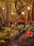 Magic forest with lamps royalty free stock images