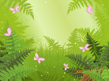 Magic forest landscape. With butterfly Stock Photo