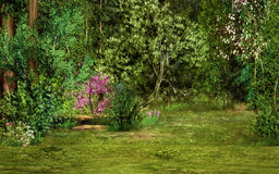 Magic forest scene. A magical landscape with trees, flowers and trees Royalty Free Stock Images