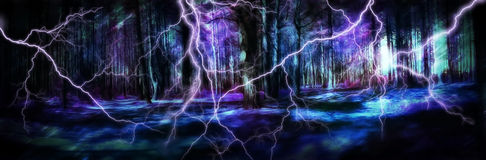 Magic forest in the storm. Fantasy illustration magic forest in the storm Royalty Free Stock Images