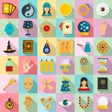 Magic fortune teller icons set, flat style vector illustration