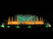 Magic fountain. Montjuic magic fountain. A lights,colors and music spectacle at night, displayed in magic fountains situated in Barcelona (Spain Stock Photo