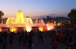 Magic fountain at Barcelona Stock Images