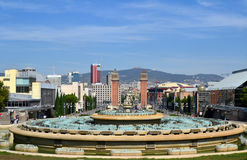 Magic Fountain of Barcelona. View of Barcelona city from Magic Fountain in Montjuic Stock Photo