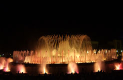Magic Fountain of Barcelona. Magic Fountain in Montjuic - Barcelona, Spain Royalty Free Stock Images