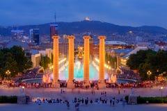 Magic Fountain in Barcelona. Magic Fountain near the National Palace of Art of Catalonia in Barcelona. Spain Stock Photos