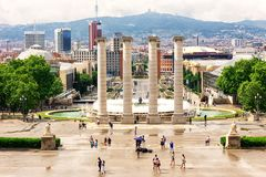 Magic Fountain in Barcelona, Spain. Magic Fountain near the National Palace of Art of Catalonia in Barcelona, Spain in Europe stock photo