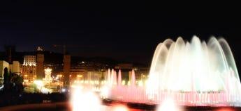 Magic fountain in city Barcelona Royalty Free Stock Image