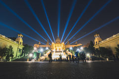 Magic Fountain light show in Barcelona, Spain. BARCELONA, SPAIN - DECEMBER 25, 2015: Night view of Magic Fountain light show in Barcelona, Spain Royalty Free Stock Images