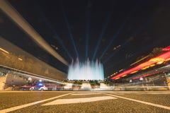 Magic Fountain light show in Barcelona, Spain. BARCELONA, SPAIN - DECEMBER 25, 2015: Night view of Magic Fountain light show in Barcelona, Spain Stock Images
