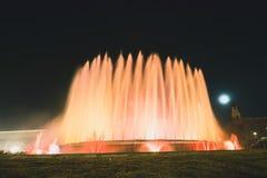 Magic Fountain light show in Barcelona, Spain. BARCELONA, SPAIN - DECEMBER 25, 2015: Night view of Magic Fountain light show in Barcelona, Spain Royalty Free Stock Photos