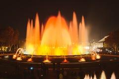 Magic Fountain light show in Barcelona, Spain. BARCELONA, SPAIN - DECEMBER 25, 2015: Night view of Magic Fountain light show in Barcelona, Spain Stock Photo