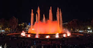 Magic Fountain Lights in Barcelona. Royalty Free Stock Images