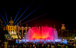 Magic Fountain of Montjuïc in Barcelona at night Royalty Free Stock Images