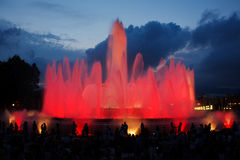 Magic fountain of Montjuic. Tourists at the Magic Fountain of Montjuic (Font magica de Montjuic) in Barcelona, Spain Royalty Free Stock Photo